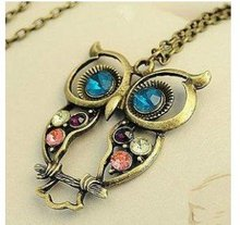 2014 New Fashion Hot-Selling Retro color block drill hollowing carved cute owl Mao Yilian Necklace Jewelry,Free Shipping  N55