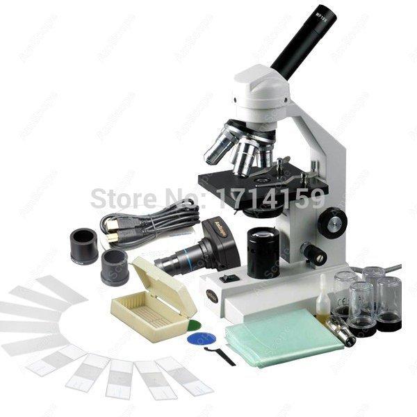 AmScope 40X-2500X Advanced Compound Microscope with USB Digital Camera &amp; 10pc Slide Kit<br>