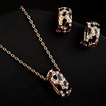 new Acme make public  gold-plated CZ diamond leopard print pendant necklaces and earrings jewelry sets (N1757139)(China (Mainland))