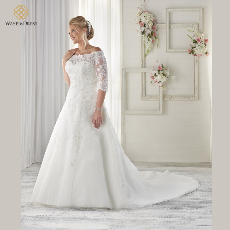 Buy designer off the shoulder a line lace for Plus size beaded wedding dresses