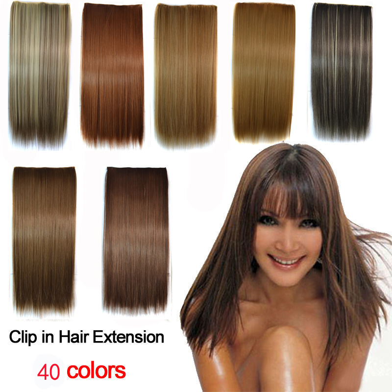 30colors 1PC 120G Woman straight Clip Hair Extension one Piece Full Head Long Hairpieces - ZM QUEEN store