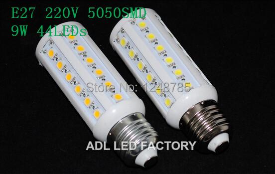 Freeshipping E27 9W 220V 5050SMD 44LEDs Led Light Corn Bulb High quality Lamp Energy saving no flicker Lighting 2Pcs/Lot(China (Mainland))