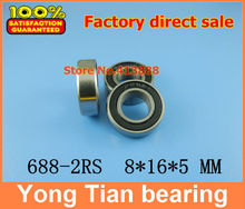 50pcs free shipping The Rubber sealing cover  Thin wall deep groove ball bearings 688-2RS 8*16*5 mm