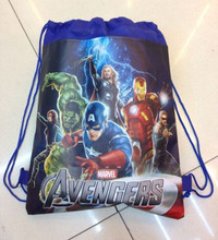 Baymax&Spiderman&Avengers&Cute Pig Children Cartoon Drawstring Bag Backpacks Kids School Bags Mochila Infantil For Gift(China (Mainland))