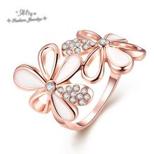 bisuteria mujer 2015 New Hot Sale Fashion brand jewelry Austrian crystal enamel Flowers Rose Gold ring for women Free Shipping(China (Mainland))