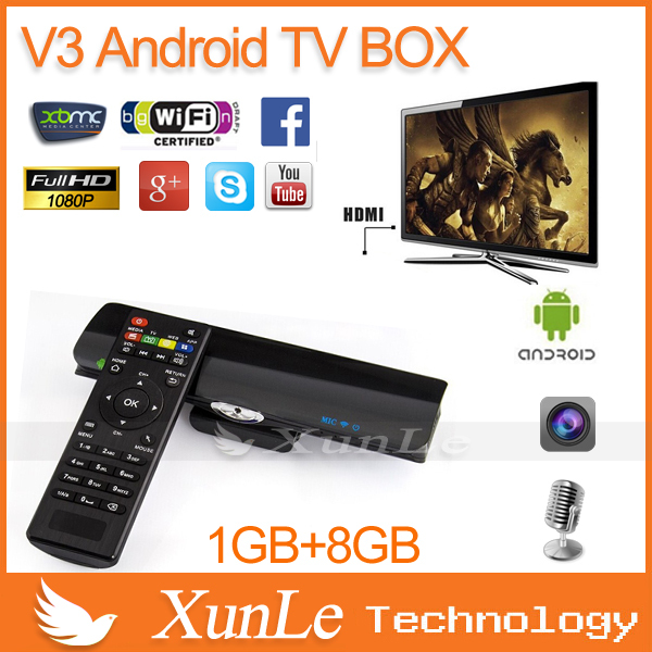 Android 4.2 tv box camera RK3066 Dual Core V3 mini PC 1G+8G Nand flash 2MP cam Mic HDMI Wifi Skype Web for smart tv(China (Mainland))