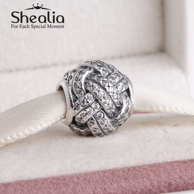 День матери вымощает влюбленность узел бусины с cz 925 чистое серебро SHEALIA ювелирные изделия подходит своими руками браслеты BD223