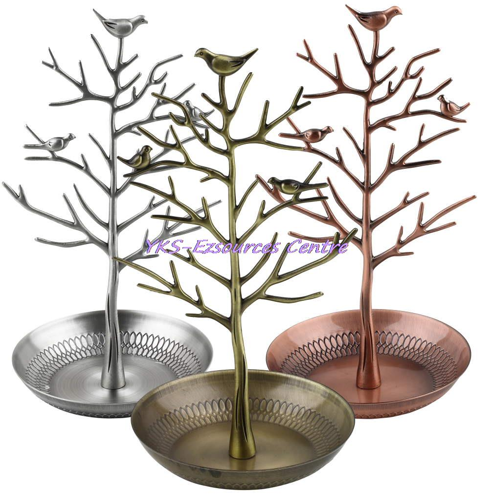 Retro Earring Ring Jewelry vintage Bird Tree Stand Display Organizer Holder Show Rack Jewelry Holder Ring Display Hot Selling(China (Mainland))