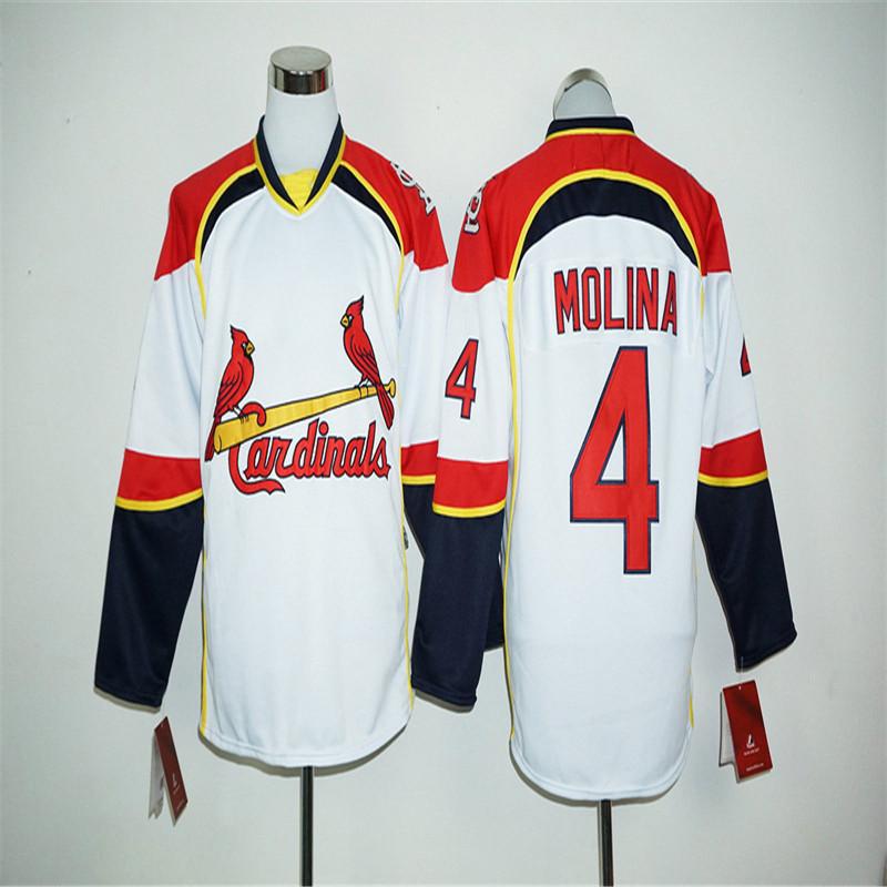 Mens #4 Yadier Molina #13 Matt Carpenter #52 Michael Wacha Long Sleeves Baseball Pullover White Jersey(China (Mainland))