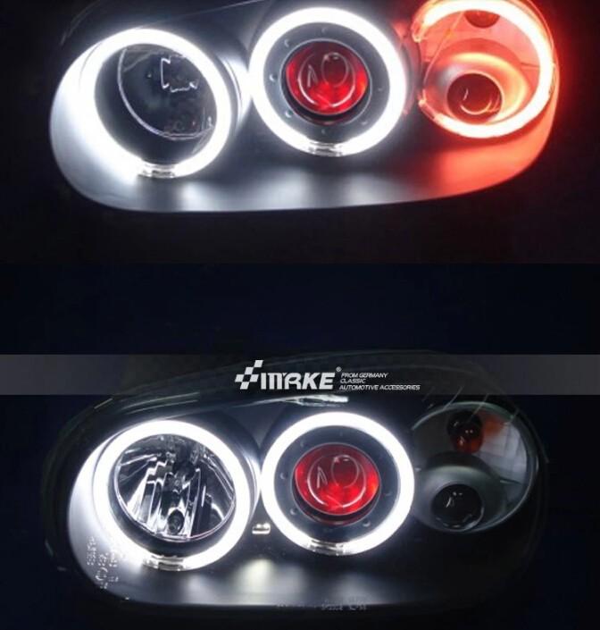 Auto Clud vw golf 4 98-05 headlights Angel Eyes light + xenon lens LED car light H7 h1 led light car styling