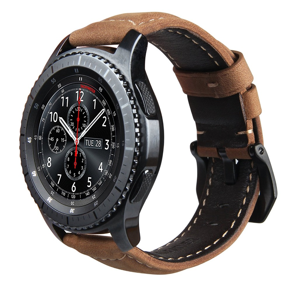v moro genuine leather strap for gear s3 smart watch band replacement watch bracelet for. Black Bedroom Furniture Sets. Home Design Ideas