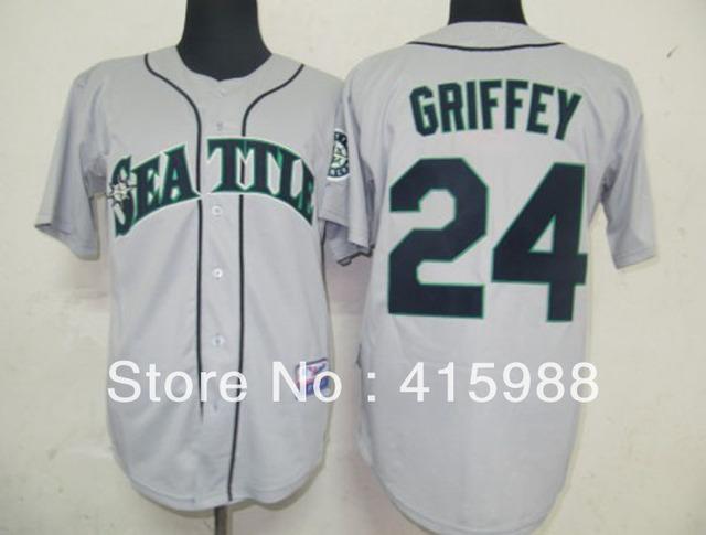 Free shipping,Wholesale baseball jerseys Seattle Mariners #24 Ken Griffey white/grey/dark blue cool base jersey,size48-56