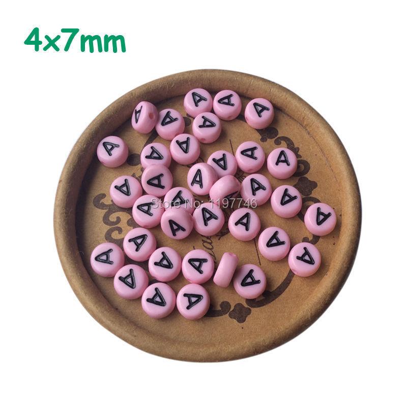 Mini Order Pink Single Alphabet A Beads 4x7mm 100pcs Acrylic Flat Round English Alphabet Letter Beads DIY Jewelry Craft Supplies(China (Mainland))