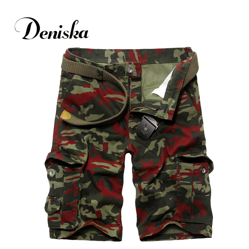 2016 Hot men's casual cotton loose camouflage multi-pocket bag size 29-36 military knee-length shorts summer style(China (Mainland))