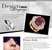 Red Ruby Diamond Ring Imitation Womens Jewellery Real 18K Rose Gold Plated Retro Zirocn Crystal Zirconia
