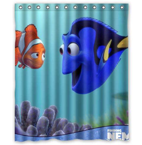 Custom Finding Nemo Cartoon Printed Shower Curtain 60 x 72 inches Waterproof bath curtain - Diy you style store