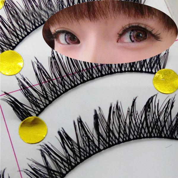 A15 10Pairs/LOT Cross False Eyelashes Makeup Natural Fake Thick Black Eye Lashes VD383 P - All Dresses store