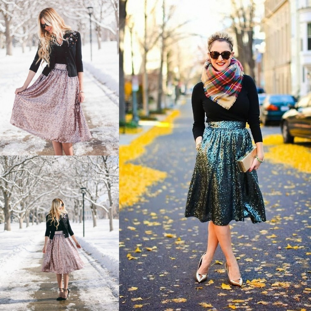 Sequin Skirts A Line Knee Length Short Skirt Custom Made Skirts Womens(China (Mainland))