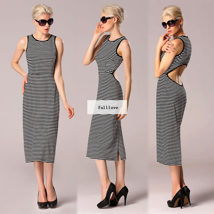Cut Out 2015 Women 39 S Clothing American Style Street Fashion Sexy Round Collar Sleeveless Stripe