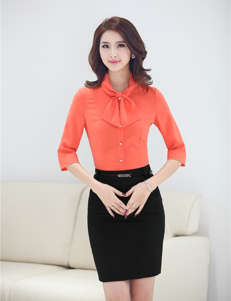 Fashion Office Uniform Designs Women Skirt Suits With Two Piece Skirt And Top Sets Blouses ...