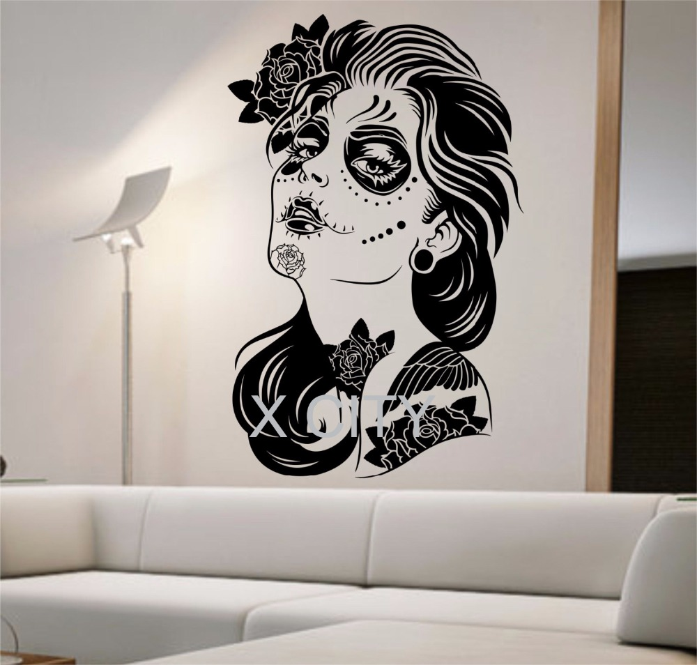 Day of the dead wall decal roses girl vinyl sticker art for Mural art designs for bedroom