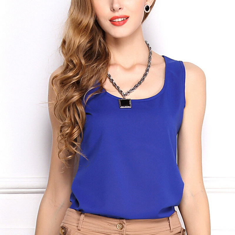 WHATWEARS Summer New 6 Size Women Clothing Fashion Chiffon Tank Tops Vest Shirts Solid 15 Candy