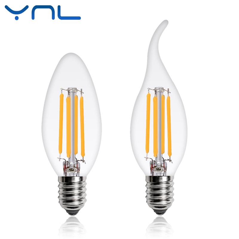 YNL LED Filament Bulb E14 Candle Light Bulb 2W 4W 6W Edison Bulb C35 220V Retro Antique Vintage Style Warm White LED Glass Bulb
