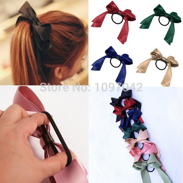 7 Hot 2015 Fashion Bow Women Ponytail Hairband Elastic Hair Rubber Band Rope Ties for Woman Free Shipping Retails li(China (Mainland))