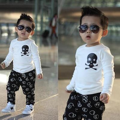 2014 new Children boys kids Clothing clothes long sleeve t-shirt cartoon skull coats Fashion 100% cotton black white sport - Baby love beautiful store