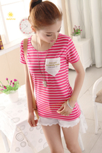2015 new style quality cotton made loose tshirt beauty girls striation sweatshirt casual jogger exercise T