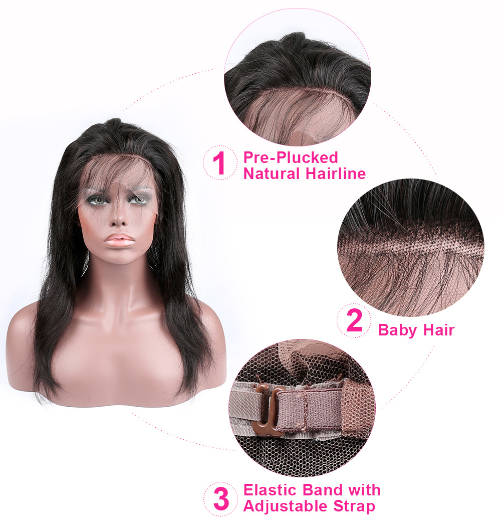XBL HAIR 360 Lace Frontal Straight 100% Human Hair Natural Hairline With Baby Hair Natural Color Remy Free Shipping