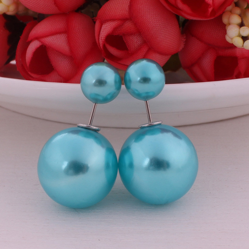 10 Colors Classic Hot Double Ball Earrings Candy Color Double Side Pearl Earrings For Women Shinning Pusety Fancy Fine Jewelry