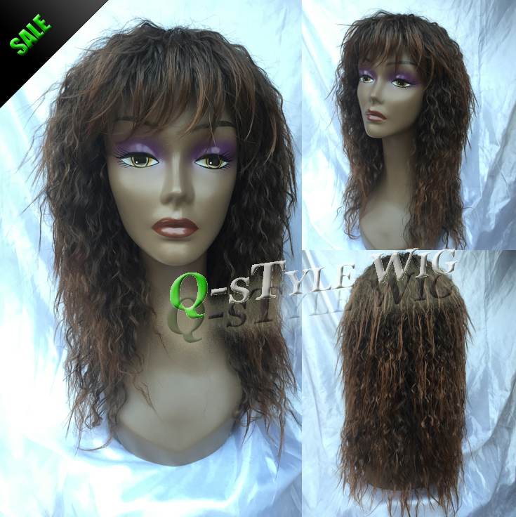 Kanekalon Synthetic black mix brown color Two tone medium lenght hair wig fluffy afro kinky curly style female Full Wigs - Queen Style trade Co.,Ltd store