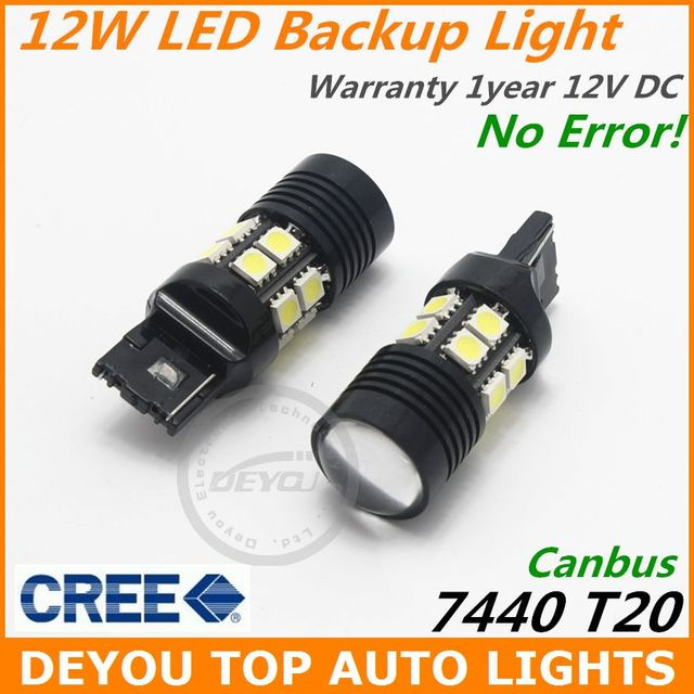 2pcs No Error Canbus 12W CREE Xenon White 7440 LED Backup Reverse Light Bulb T20 1year Warranty
