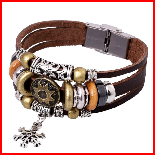 Made in China Snow Charm Bracelet In Four Colors Stainless Steel Clasp Bracelet of Leather(China (Mainland))