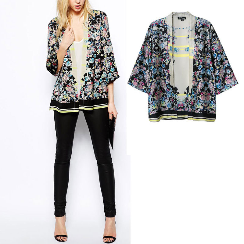 Womens Fashion Retro Floral Print Cardigan Kimono Coat Black Jacket Tops SML - Factory Price Clothing(Offer Drop Shipping store)