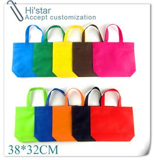 38*32cm 20pcs/lot Non woven canvas foldable shopping bags, folded size of string, black shopping bag white logo printing(China (Mainland))