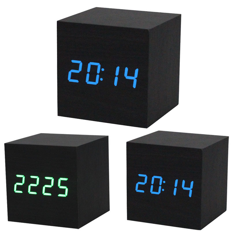 1PC Digital LED Black Wooden Wood Desk Alarm Brown Clock Voice Control MDF + PVC Contracted design style wooden alarm clock(China (Mainland))