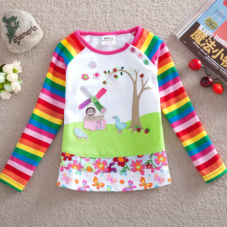2016 long sleeve children t shirts girl t shirt nova kids brand cotton kids t shirt for boys children boys clothing summer style(China (Mainland))