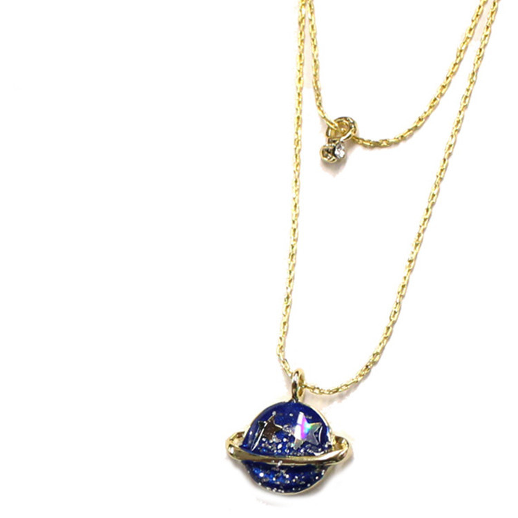 Fashion Jewelry Summer Style Vintage Brand Moon Saturn Gold plated Necklaces & Pendants Statement Necklace(China (Mainland))
