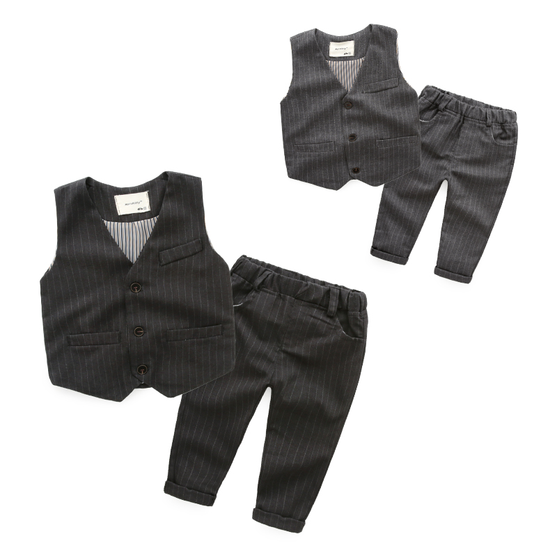 Vertical stripes baby Sets 2016 childrens fashion trousers boy sets vest and pant spring<br><br>Aliexpress