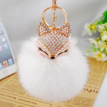 2015 New Fashion Cute Fox 8cm Big Size Genuine Rabbit Fur Ball Plush Keychain Car Key Chain Ring Pendant For Bag Charm