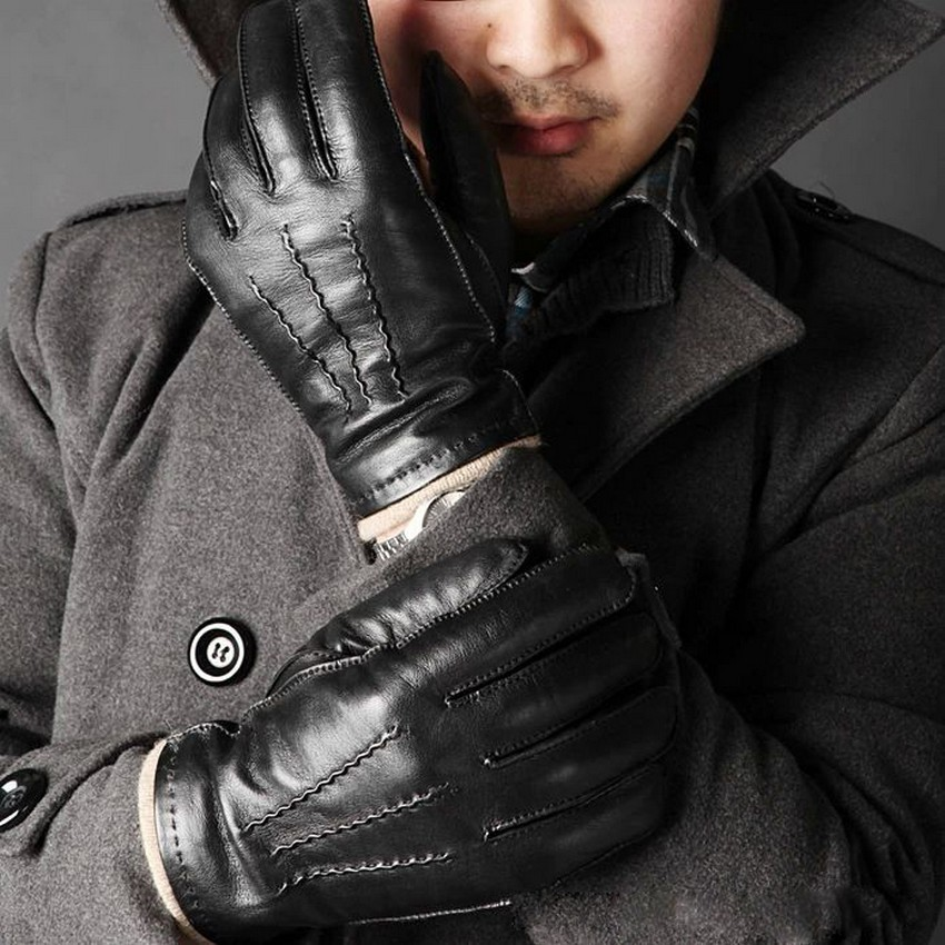 Fashion Black Wrist Men Sheepskin Gloves Warmth Knitting Lining Solid Real Genuine Leather Full Finger Winter Driving M004wz(China (Mainland))
