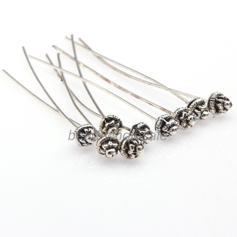 20pcs Classical Style Antiqued Silver/Gold Long Head Pins for Jewelry Finding