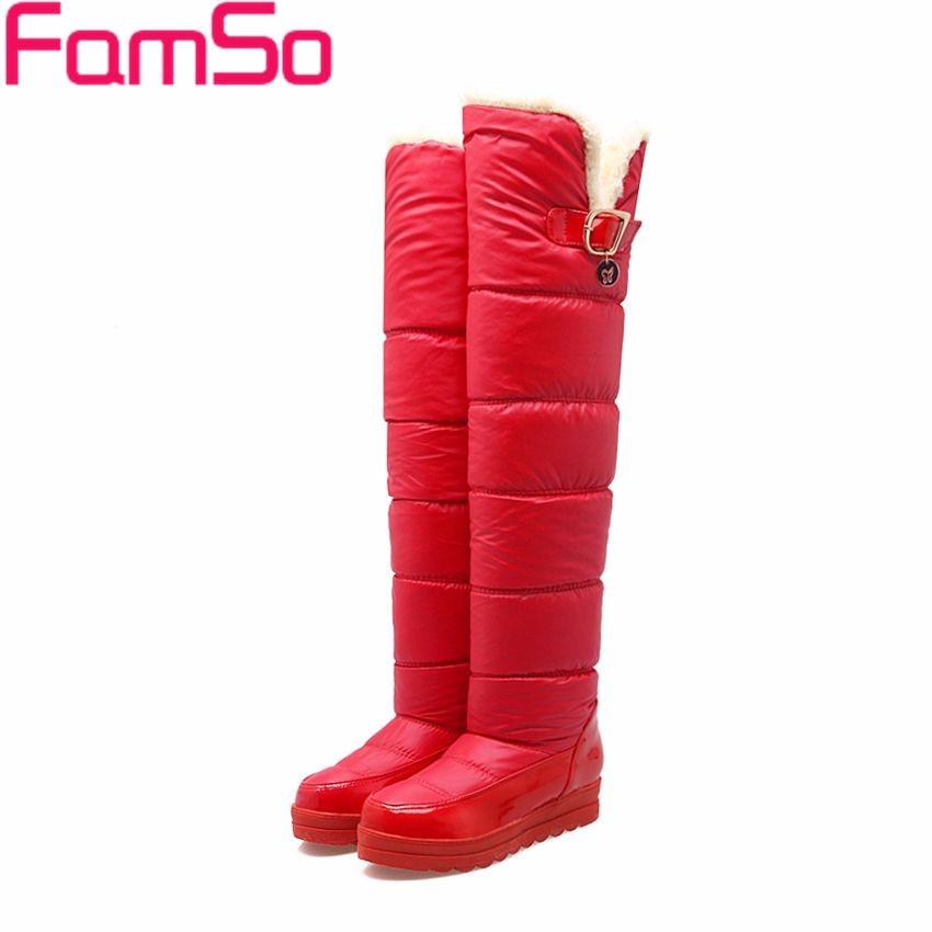 ซื้อ ขนาดบวก34-43 2016ใหม่รองเท้าสีดำกว่าเข่าบู๊ทส์สีแดงสีขาวต้นขารองเท้าสูงรัสเซียฤดูหนาวให้อบอุ่นรองเท้าหิมะSBT4348