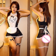 New Fashion Sheer Lace Costume Cosplay Uniform Underwear French Maid Sexy Lingerie Outfit Fancy Women Dress