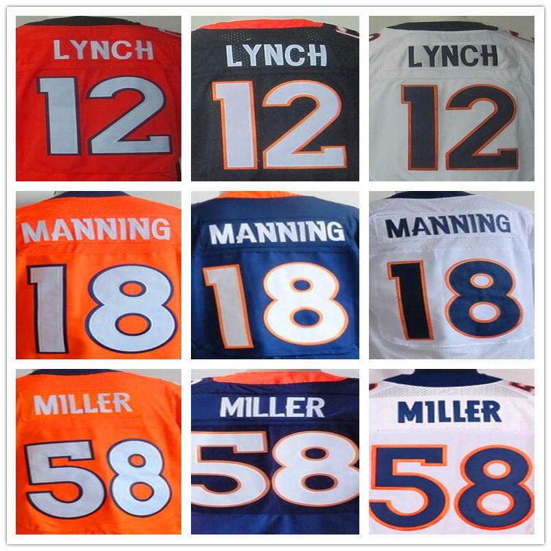 2016 NEW MEN 'S Cheap 12 Paxton Lynch Peyton Manning 58 Von Miller 10 Emmanuel Sanders white orange blue 100% Stitiched jersey(China (Mainland))