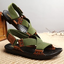 Elegant Stylish Genuine Leather & Canvas Crossed Straps Gladiator Beach Sport Sandals Shoes Men Ankle Strap Hand Sewing Quality(China (Mainland))