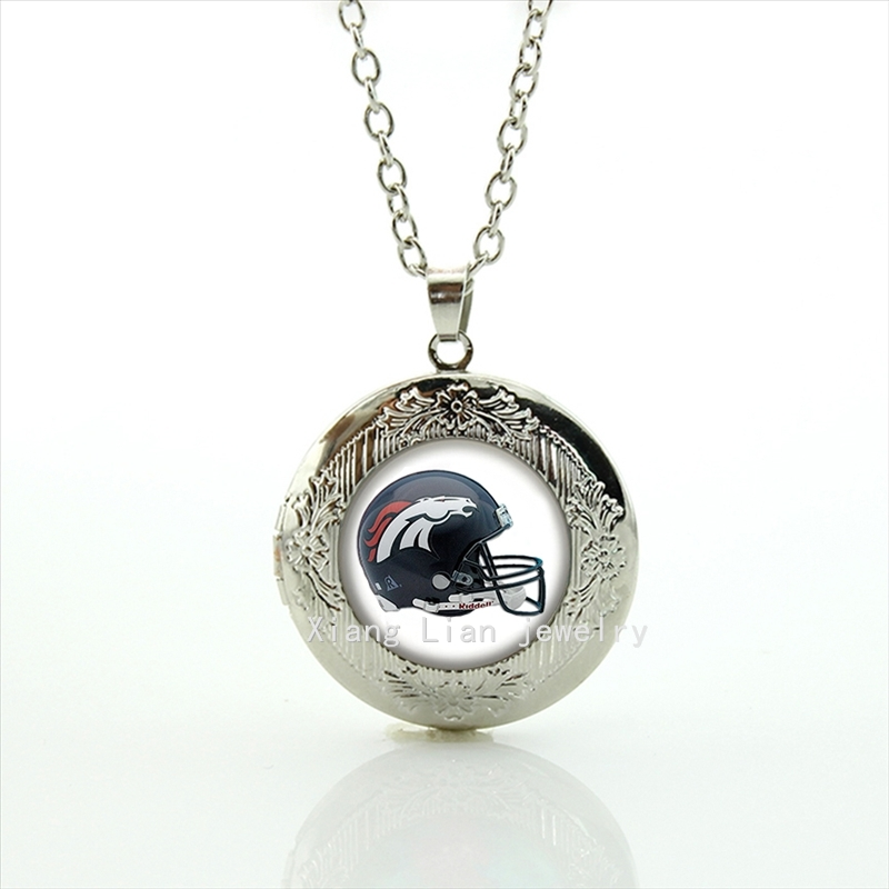 Fine quality cheap price locket necklace Denver Broncos team Newest mix 32 NFL Souvenirs jewelry gift NF154(China (Mainland))