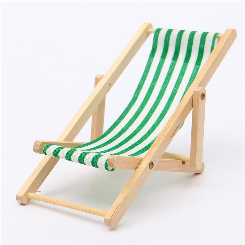 1:12 Scale Foldable Wood Deckchair Lounge Seaside Chair For Pretty Miniature For Barbie Dolls Home Colour In Inexperienced Pink Blue